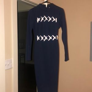 Guess Navy and White Long Sleeve dress